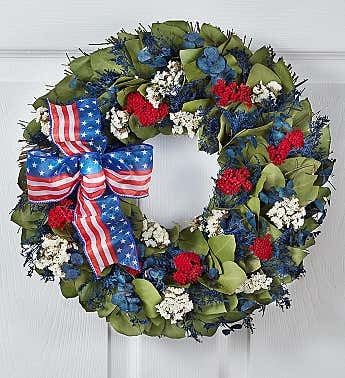 Preserved Red, White and Beautiful Wreath -16""