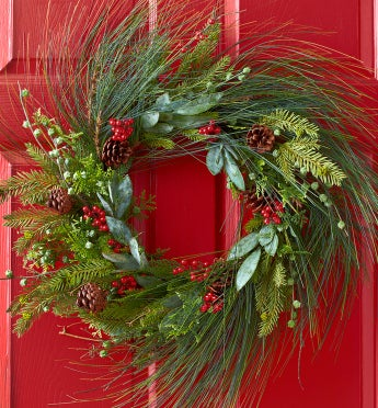 Faux Pine Wreath - 24""