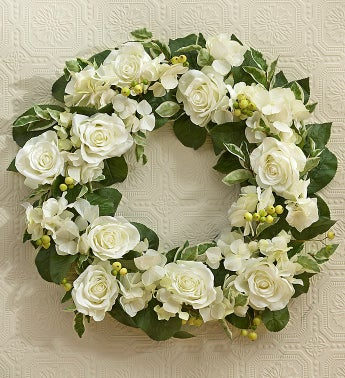 Silk White Rose Wreath - 23""