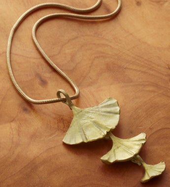 Gingko Three Leaf Pendant Necklace