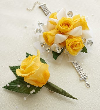 Infinite Rose Yellow Corsage & Boutonniere