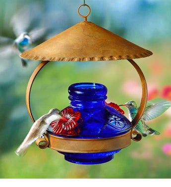 Lapis Blue Hummingbird Feeder