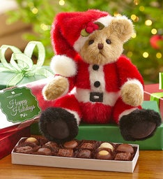 "Bearington® ""Santa Beary"" Bear with Chocolate"