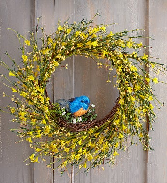Bluebird Buttercup Wreath 22""