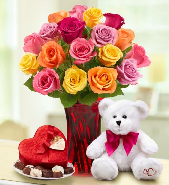 Assorted Roses, 18 stems with Bear + Chocolate