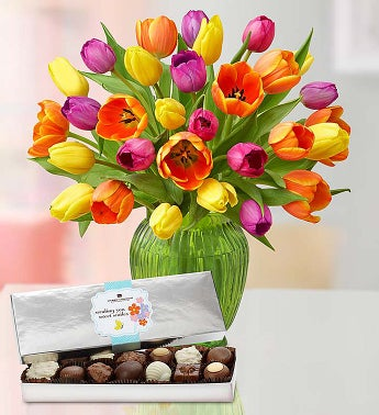 Assorted Tulips, 30 for $30 + Free Chocolates