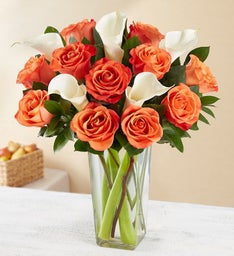 Autumn Rose & Calla Lily Bouquet + Free Vase