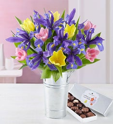 Spring Tulip and Iris Bouquet with French Flower Pail Vase