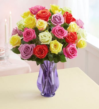Two Dozen Assorted Roses  Free Shipping