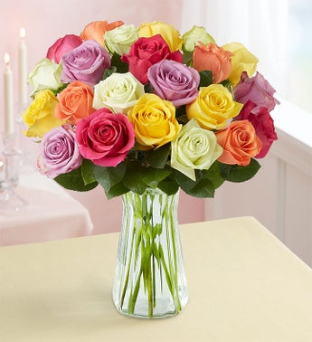 Two Dozen Assorted Roses + Free Vase Deals