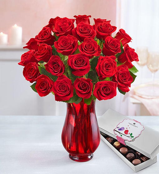 Two Dozen Red Roses+ Free Chocolate