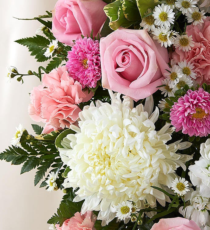 Always Remember™ Floral Heart Tribute - Pink & White