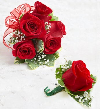 Red Rose Corsage  Boutonniere