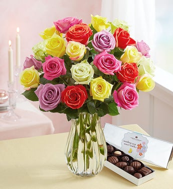 Assorted Roses + Free Vase & Free Chocolate
