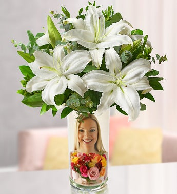 Personalized Vase with White Lilies