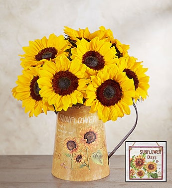 20 Stems Sunflower Bouquet with Blue Modern Vase