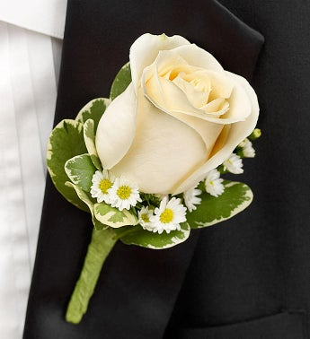 White Boutonniere From 1 800 FLOWERS COM 95312