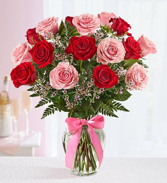 Shades of Pink and Red™ in Clear Vase
