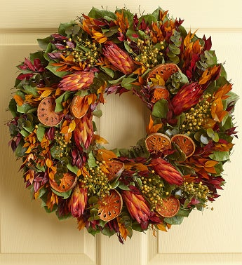 Preserved Orange Protea Wreath – 22
