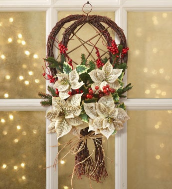 Snowshoes with White Poinsettias