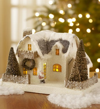 Vintage Christmas White Putz House