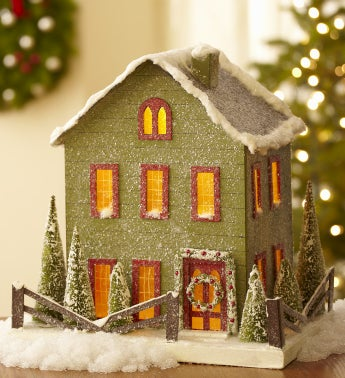 Lighted Vintage Christmas Cottage