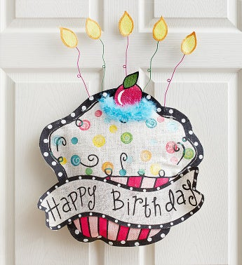 Happy Birthday Cupcake Door Hanger