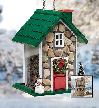 Festive Holiday Fieldstone Birdfeeder