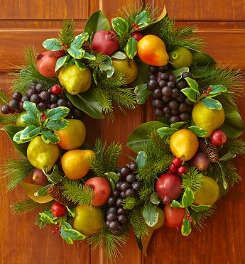 Festive Faux Fruit Wreath - 24""