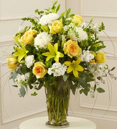 Yellow and White Large Sympathy Vase Arrangement