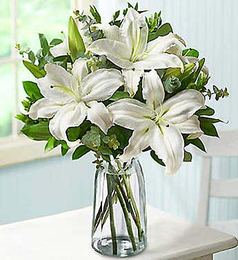 White Lilly Bouquet for Sympathy