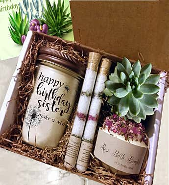 Sister Birthday Succulent Spa Gift Box