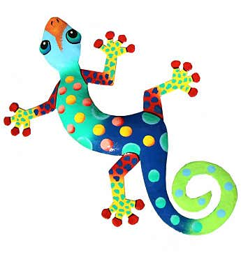 "Handmade 13"" Recycled Steel Painted Florida Gecko"