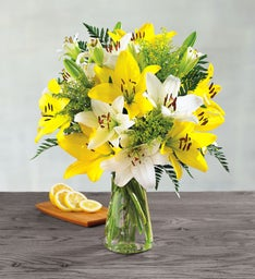 White and Yellow Lily Bouquet