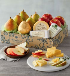 Deluxe Pears, Apples, and Cheese Gift