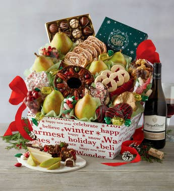 Grand Christmas Gift Basket with Wine