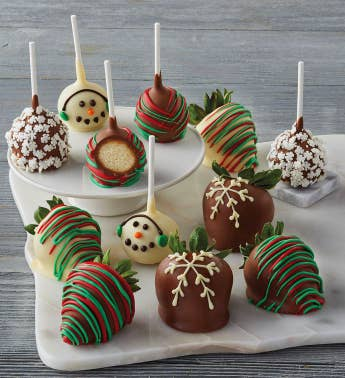 Holiday Chocolate-Covered Strawberries and Cake Pops