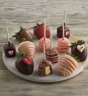 Valentine39s Day Hand-Dipped Chocolate-Covered Strawberries and Cheesecake Pops - Half Dozen Each