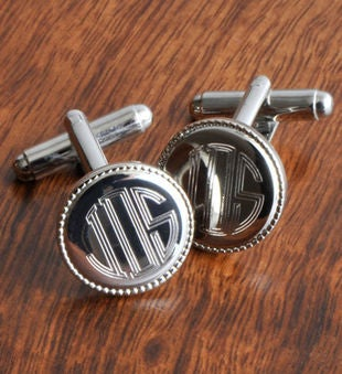 Personalized Silver Beaded Cufflinks