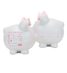 Personalized Hand-Painted Birth Announcement Piggy Bank