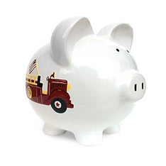 Personalized Hand-Painted Firetruck Piggy Bank