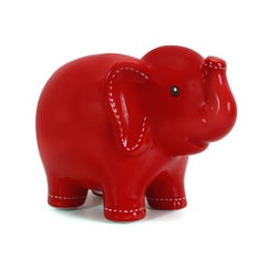 Personalized Hand-Painted Red Stitched Elephant Bank