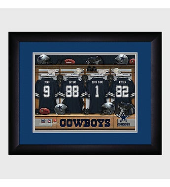 NFL Locker Room Print with Wooden Frame