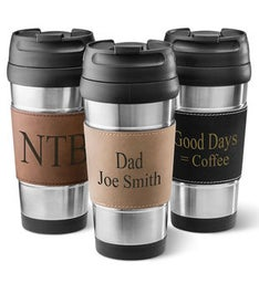 Leatherette Wrapped Stainless Steel Mug