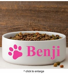 Personalized Happy Paws Large Dog Bowl