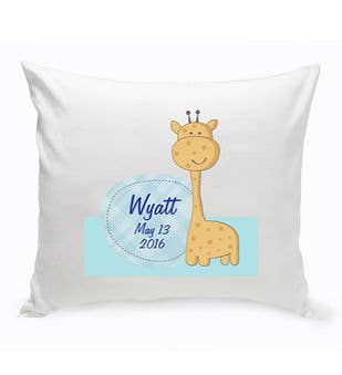 Personalized Baby Giraffe Nursery Throw Pillow