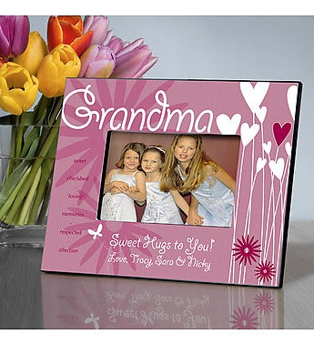 Personalized Grandma Hearts Picture Frame
