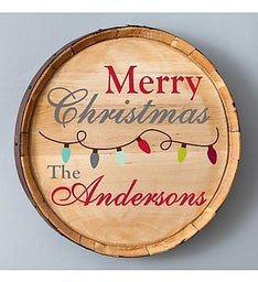 Personalized Christmas Wood Barrel Sign