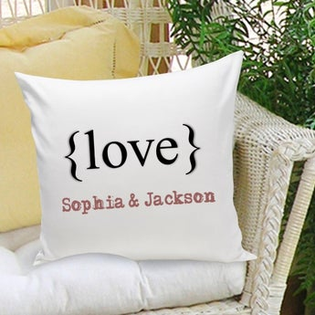 Typeset {Love} Personalized Throw Pillow