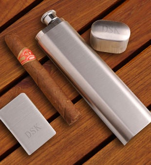 Cigar Flask with Brushed Silver Lighter Gift Set